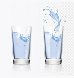 Transparent glass of water realistic vector