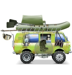 Travel car with fishing accessories vector