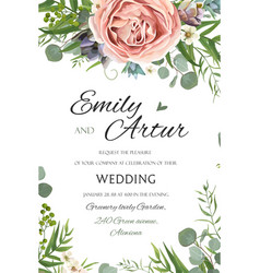 wedding invitation invite save the date floral vector image vector image