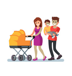 Young family and baby walking outdoor vector