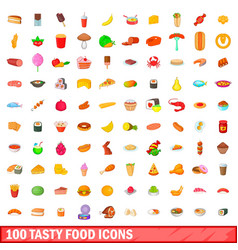 100 tasty food icons set cartoon style vector