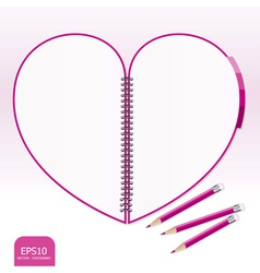 pink heart note paper with pencil vector image