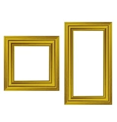 Set of Gold Wooden Frames vector image