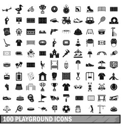 100 playground icons set simple style vector image