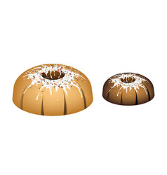 Four bundt cake topped with sugar glaze and nuts vector