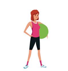 sport girl holding fitball exercise training vector image