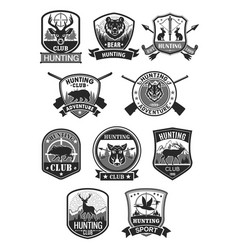 hunting club hunt adventure icons set vector image