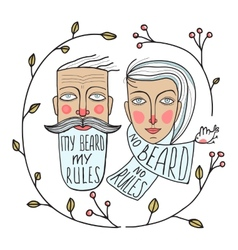 Bearded man and no beard woman portraits vector