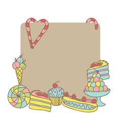 Card with sweets template vector