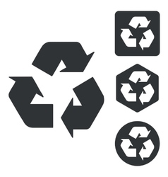 Recycling sign icon set monochrome vector