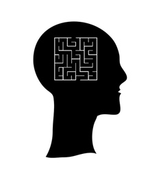 Maze in the shape of a human head concept vector