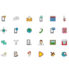 Mobile services colorful icons set vector