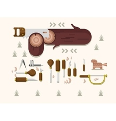 Concept woodcarving tools vector