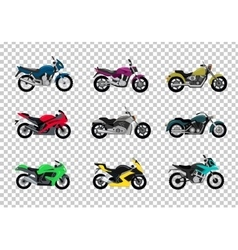 Set of motorcycle design flat style vector