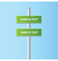 two green road plates signs vector image