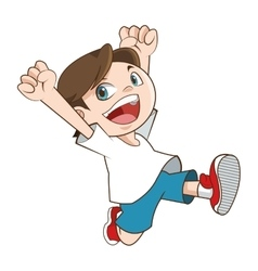 Happy smiling running boy icon vector