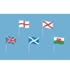 Set of great britain flags with england vector