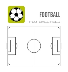 Soccer field with flat icon ball football vector