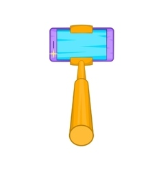 Selfie stick with a smartphone icon cartoon style vector