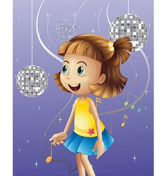 A girl looking at the disco balls vector image vector image