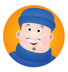 avatar is a jolly fisherman a cartoon portrait of vector image vector image