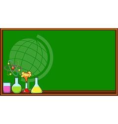 Blackboard and science beakers vector image