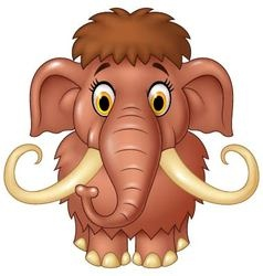 Cartoon cute mammoth isolated on white background vector