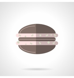 Chocolate macaroon flat color design icon vector image vector image