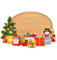 Christmas gifts with oval board vector