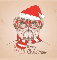Christmas hipster fashion animal bulldog vector