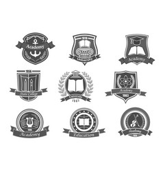 college or university icons or emblems set vector image vector image