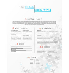 Creative simple cv template with grey plus signs vector