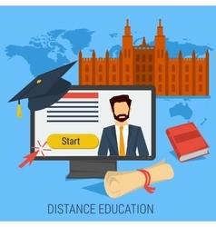 Distance online education concept vector