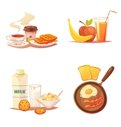 Four breakfast icons compositions vector