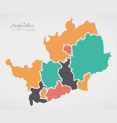 Hertfordshire england map with states and modern vector