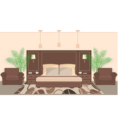 Hotel room interior in warm colors with furniture vector