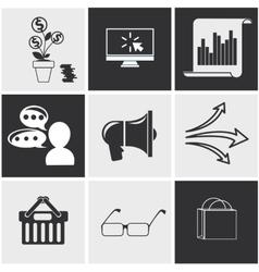 Icons for seo social media online shopping vector