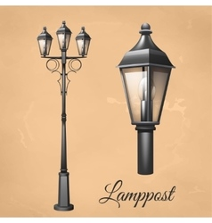 Lamp post set vector