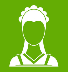 Maid icon green vector