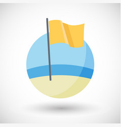 Medium hazard beach flag icon vector