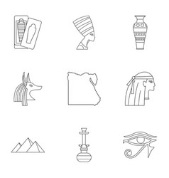 Pharaon of egypt icons set outline style vector
