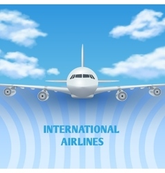 Realistic plane aircraft airplane in sky with vector
