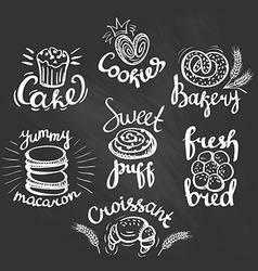 Set of bakery label on the chalkboard Bakery logo vector image vector image