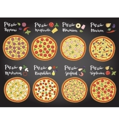 set of hand drawn pizza popular varieties vector image