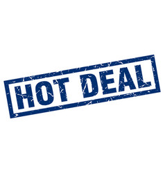 Square grunge blue hot deal stamp vector