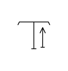 Type tool up arrow icon vector