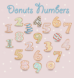 White chocolate donuts numbers vector