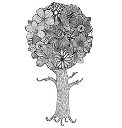 Flower tree sketch vector