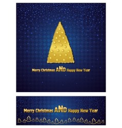 New year and christmas background with a gold tree vector