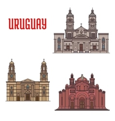 Uruguay architecture buildings facades elements vector